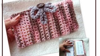 CROCHET CHEQUE BOOK COVER, Free Pattern On How To Crochet