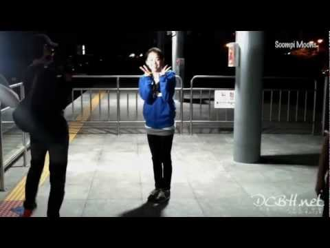 [Fancam] 121001 Moon Geun Young Chats With Fans While Filming for Running Man (eng sub)