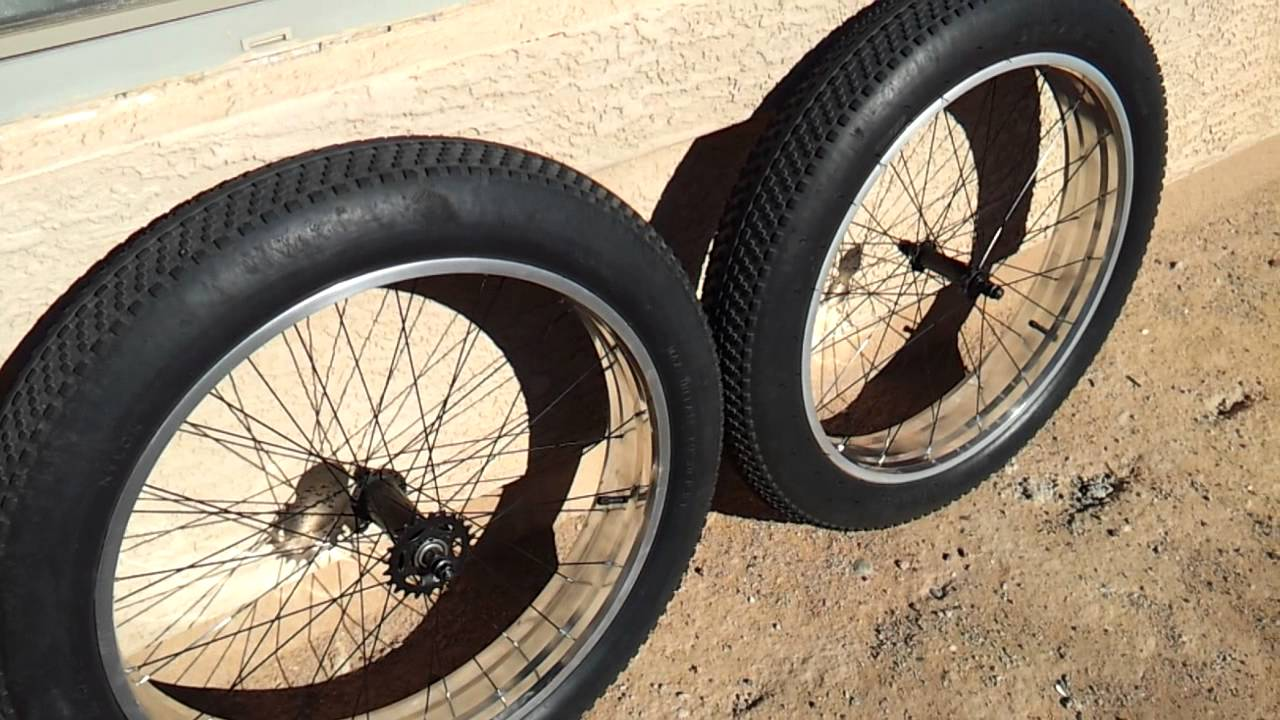 MONGOOSE BEAST Polished Aluminum Wheels 26x4.0 FAT BIKE - YouTube