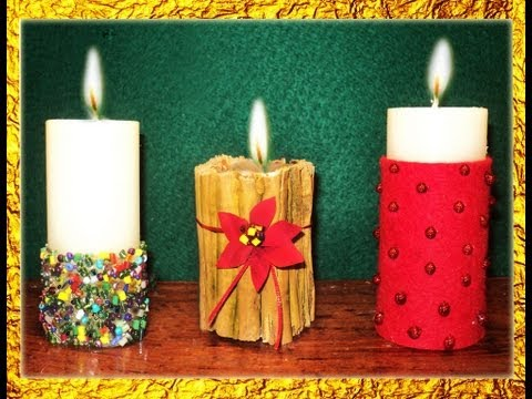 MANUALIDADES   3 IDEAS PARA DECORAR VELAS EN NAVIDAD -  POR GEORGIO -  ideas for decorating candles