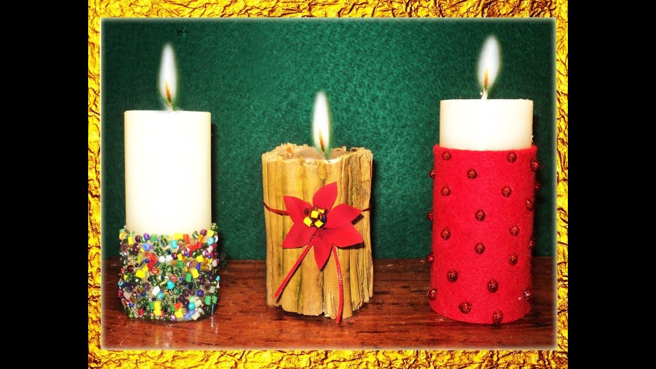 Manualidades 3 ideas para decorar velas en navidad por georgio ideas for decorating candles - Decorar mesa navidad manualidades ...