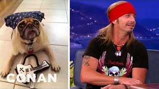 "BRET MICHAELS Shows Off Pet-Apparel Line On ""Conan"""