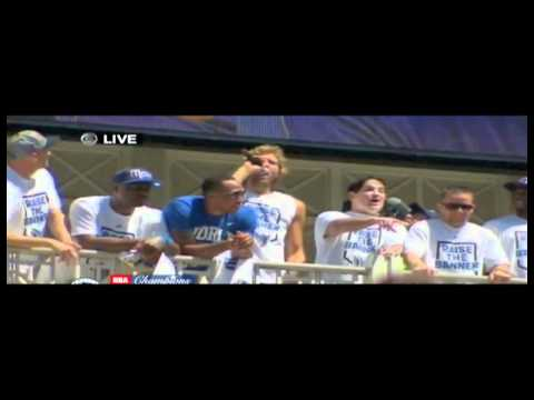"DALLAS MAVERICKS PARADE 2011- Dirk sings ""We Are the Champions"""