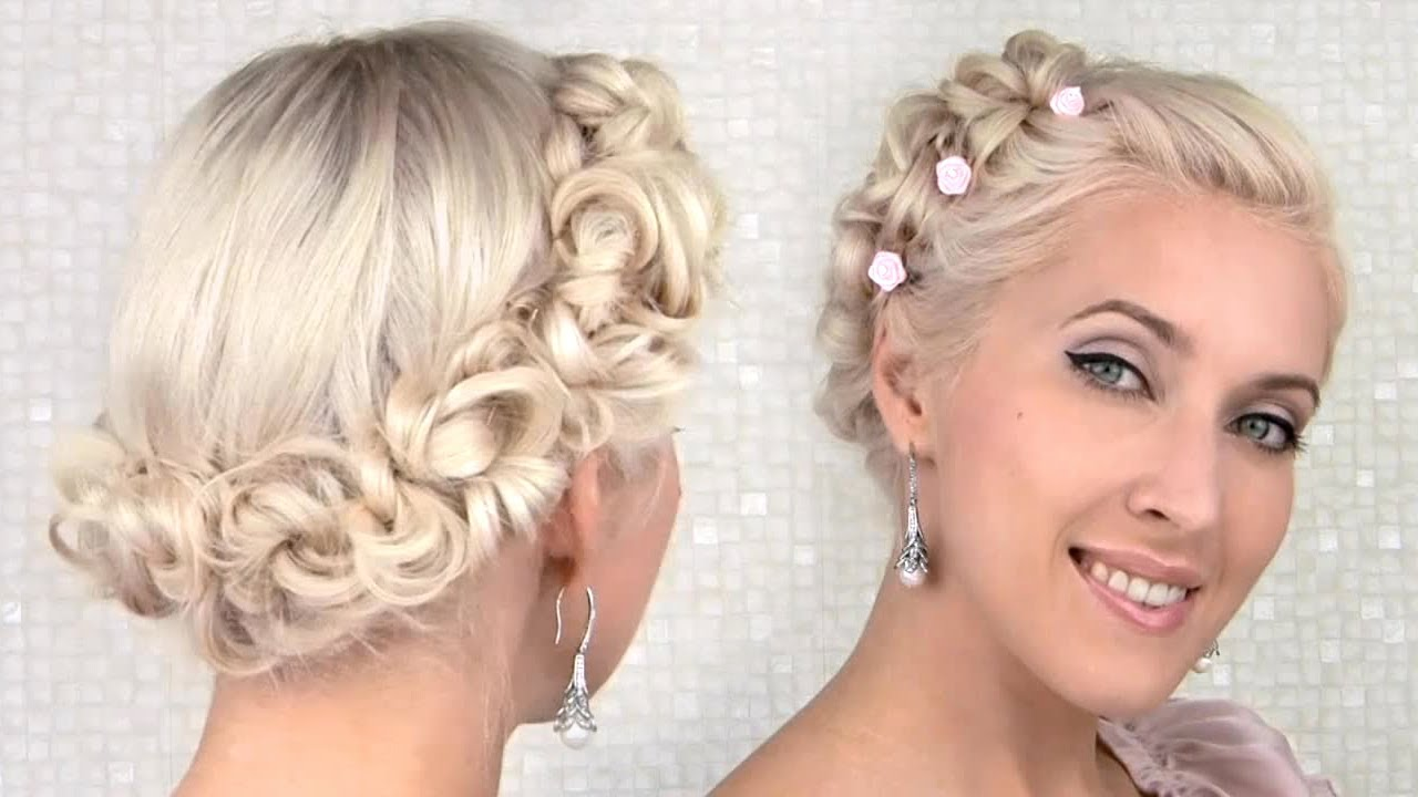 prom/wedding updo hairstyle for medium long hair tutorial - YouTube