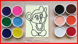 Đồ chơi trẻ em TÔ MÀU TRANH CÁT Himawari em gái Shin bút chi - Colored Sand Painting (Chim Xinh)