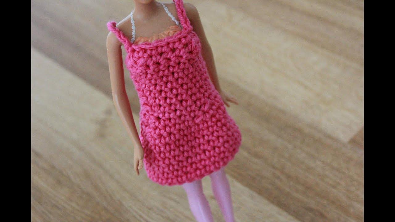 Easy Doll Crochet Patterns For Beginners : Crochet Barbie Dress Tutorial Pattern - Right Handed - YouTube
