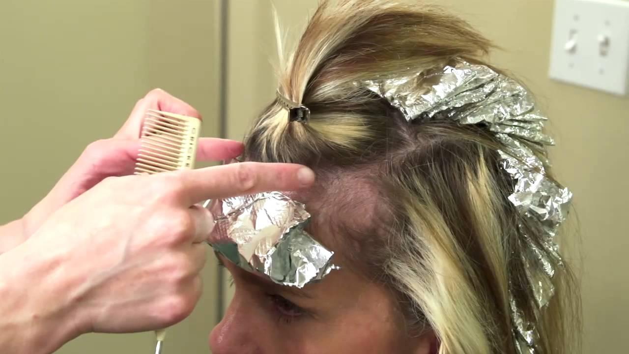 Foil Color Techniques Paint Between Hair Color Youtube