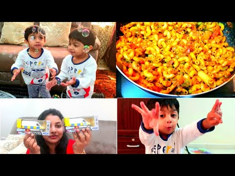 Shopping With Twins ||  Indian Style Macaroni || Twins Fun With Bubbles || NRI Twins Mother
