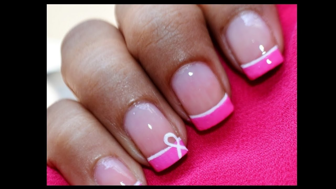 Breast Cancer Nails Art Designs -- Easy Awareness Ribbon Nail Polish