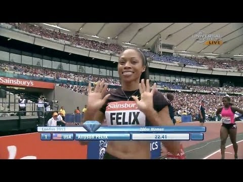 Felix wins 200m over Solomon - London Diamond League 2013