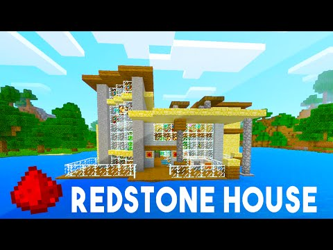MCPE ISLAND REDSTONE HOUSE (w/ 20+ Redstone Creations!) - Minecraft Maps