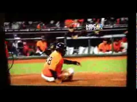 pablo sandoval lays out the catcher at home plate