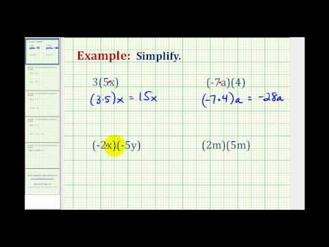Simplify a Basic Variable Expressions by Multiplication