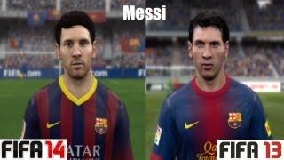 FIFA 14 Vs FIFA 13 FC Barcelona FACE Comparison (Messi
