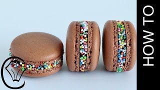 No Resting! Chocolate Freckle French Macarons with Dark Chocolate Ganache Filling
