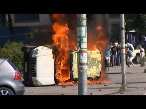 Protest over bridge barricade in divided Kosovo town