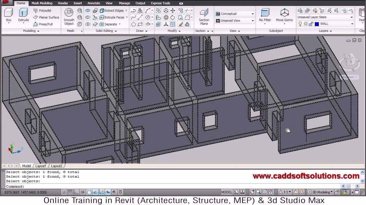 Autocad 3d House Modeling Tutorial 2 3d Home Design 3d Building 3d Floor Plan 3d Room