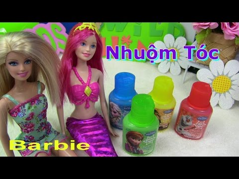 💞Nàng Tiên Cá Barbie Mermaid💞💞 Nhuộm Tóc Elsa Ariel Barbie ❤ Disney Frozen Finger Bathtub Paint