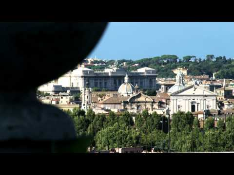 Rack focus showing an ancient city in Rome Italy.