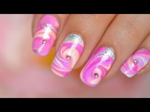Pink Water Marble: FLUO Nail art