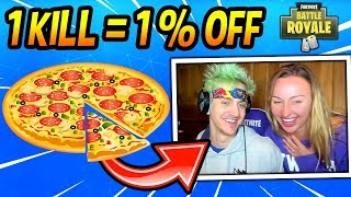 "NINJA TAKES ON THE ""UBER EATS"" CHALLENGE! W/ WIFE! (1 KILL = 1% OFF) Fortnite FUNNY Moments"