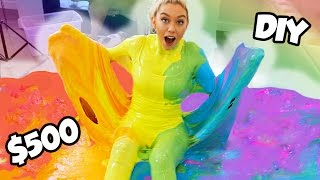 100 LBS OF DIY FLUFFY RAINBOW SLIME CHALLENGE $500 SO MUCH FUN