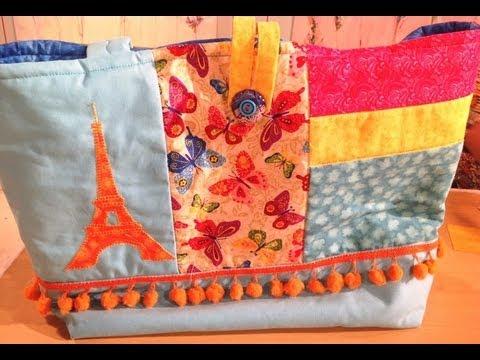 Como hacer patchwork en un bolso para playa youtube - Como hacer pachwork ...