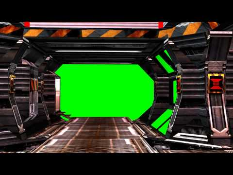 Spaceship Background Coridor with red Alert and Sound - green screen