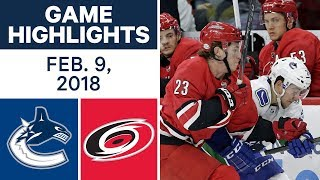 NHL Game Highlights | Canucks vs. Hurricanes - Feb. 9, 2018