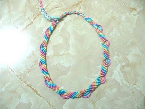 Collares nudos macramé arco iris