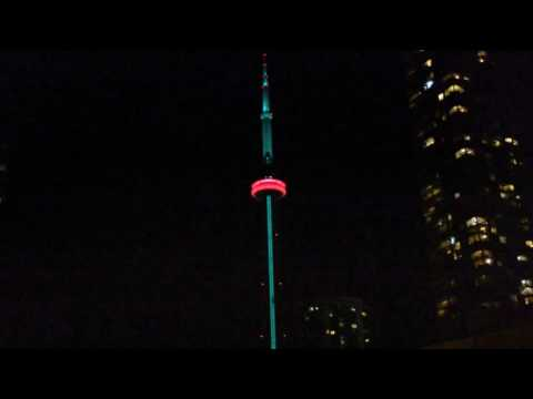 CN Tower LED Light Show at Night - Toronto, Canada