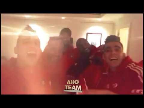 فرحة لاعبي المنتخب المغربي بالتتويج وأغنية
