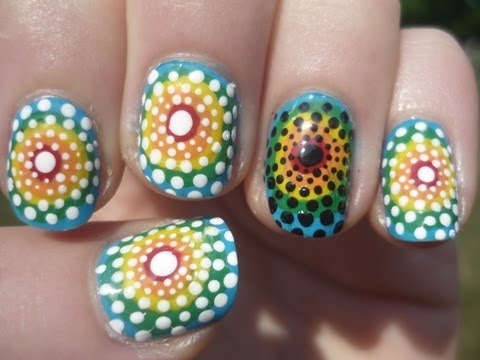 Tie Dye Polka Dot Nail Art Tutorial