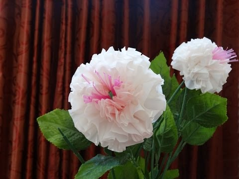 How to make beautiful flowers out of recycled plastic bag and straw : DIY