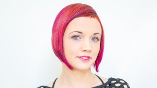 Extreme Bob Haircut Makeover Short Bangs Ombre Hair Red