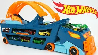 Hot Wheels Stunt & Go Hauler Truck Race Track Launch Cars Storage 360 Loop