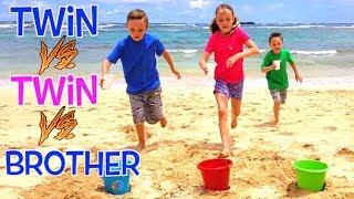 Twin VS Twin VS Brother BEACH GAMES CHALLENGE in Hawaii! | Kids Fun TV