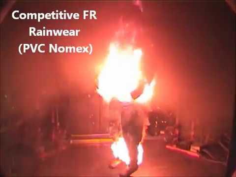 PVC Nomex Rainwear Flash Fire Test