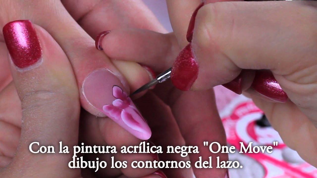 Nail art u as en porcelana con lazos rosas por zsuzsanna kun youtube - Decoracion unas porcelana ...