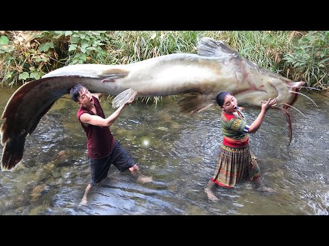 Primitive Life - Primtive Skills Fishing Catch Big Fish On The Stream For Survival