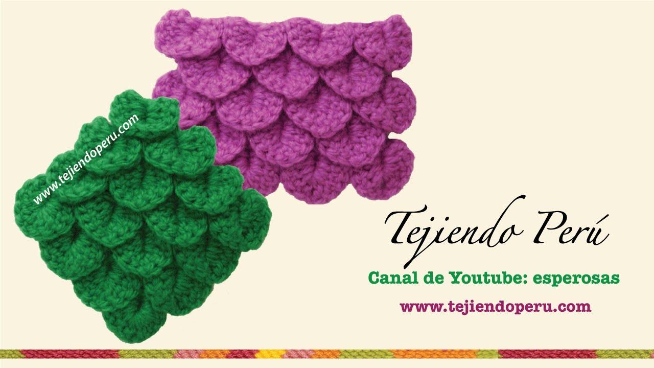 Tutorial Amigurumi Esperanza Rosas : Punto cocodrilo o escamas tejido a crochet - YouTube