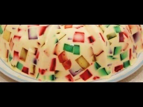 Gelatina mosaico con frutas