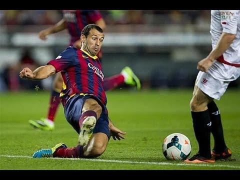 Mascherano Defending vs Sevilla 14/09/13