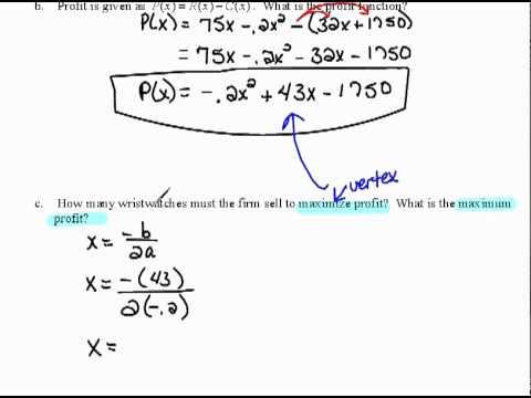 maximum profit quadratic functions