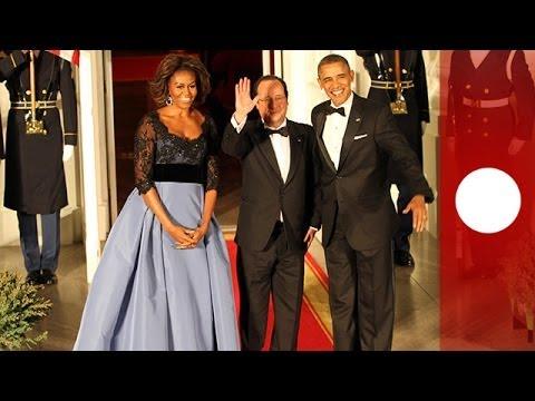 Hollande accueilli chaleureusement par Obama aux Etats-Unis - les temps forts du diner en vidéo