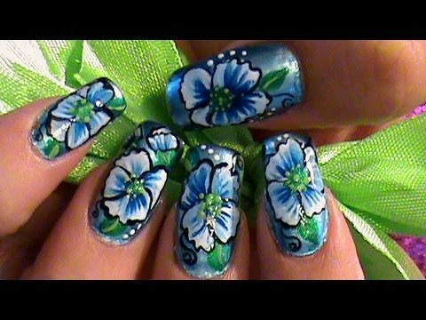 Spring Blue Scarlet Pimpernel One Stroke Flower Nail Art Tutorial