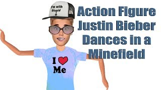 Plastic Action Figure Justin Bieber Dances in a Minefield