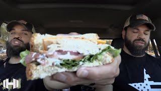 "Eating Arby's 'Turkey Ranch & Bacon Sandwich"""