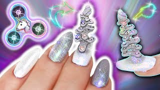 UNICORN FIDGET SPINNER TRICK NAILS | Unicorn Horn Fidget Spinner Nails | Glitter, Chrome, Crystals