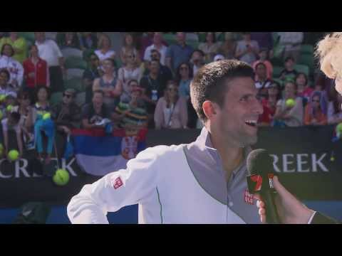 Novak Djokovic impersonates Boris Becker - 2014 Australian Open